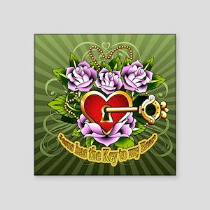 "Jesus-has-key-to-my-heart Square Sticker 3"" x 3"""