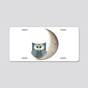 Owl on the Moon Aluminum License Plate
