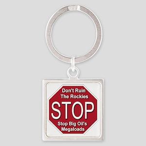 stop_big_oil_megaloads_transparent Square Keychain