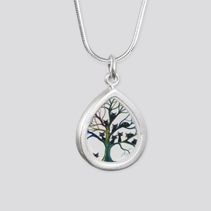 tree stray cats culpeper Silver Teardrop Necklace