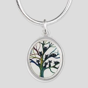 tree stray cats culpeper bigg Silver Oval Necklace