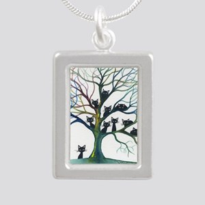 tree stray cats culpeper Silver Portrait Necklace