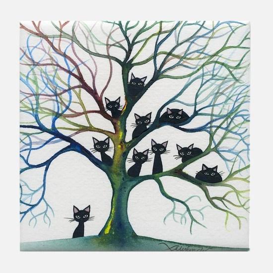 tree stray cats culpeper bigger Tile Coaster