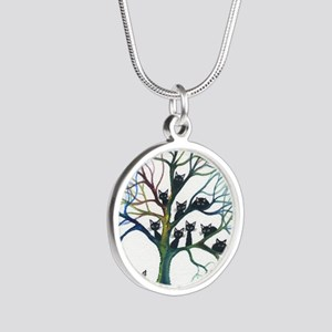 tree stray cats culpeper big Silver Round Necklace