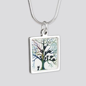tree stray cats culpeper b Silver Square Necklace