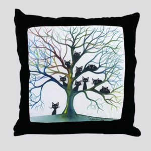 tree stray cats culpeper bigger Throw Pillow