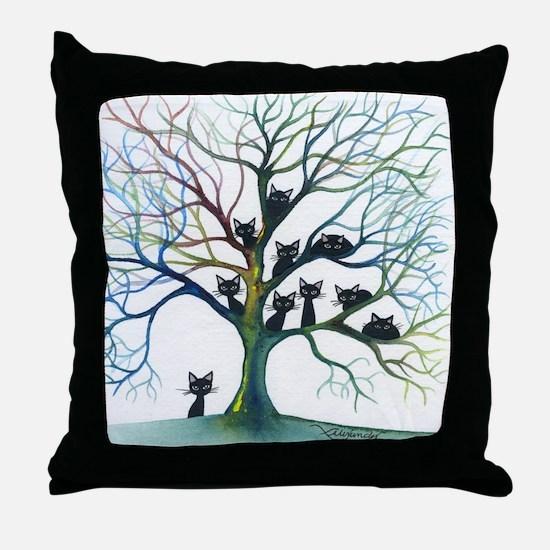 tree stray cats culpeper bigger Throw Pillow