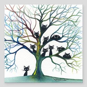 "tree stray cats culpeper Square Car Magnet 3"" x 3"""