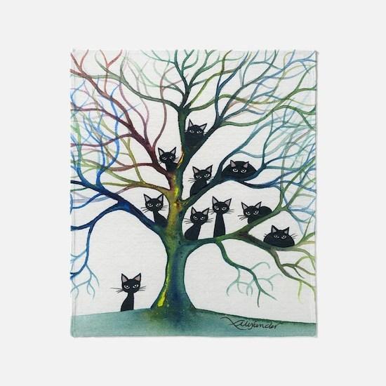 tree stray cats culpeper bigger Throw Blanket
