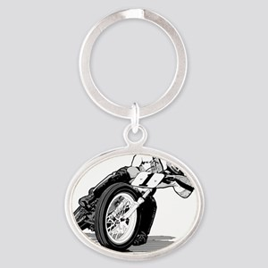 mile-bw Oval Keychain