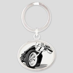 mile-bw Oval Keychain