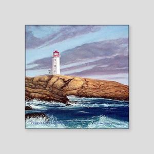 "Peggys Cove Lighthouse tile Square Sticker 3"" x 3"""
