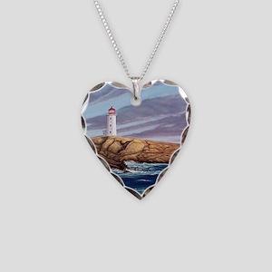 Peggys Cove Lighthouse clock Necklace Heart Charm