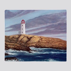 Peggys Cove Lighthouse clock Throw Blanket