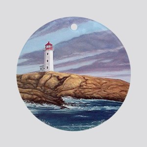 Peggys Cove Lighthouse clock Round Ornament
