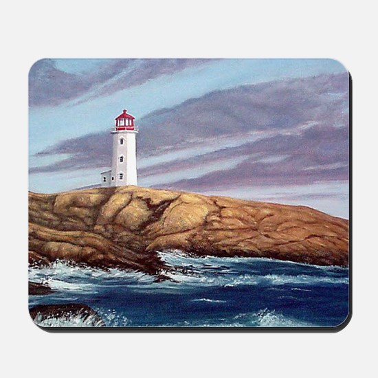 Peggys Cove Lighthouse clock Mousepad