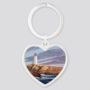 Peggys Cove Lighthouse clock Heart Keychain