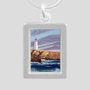 Peggys Cove Lighthouse c Silver Portrait Necklace