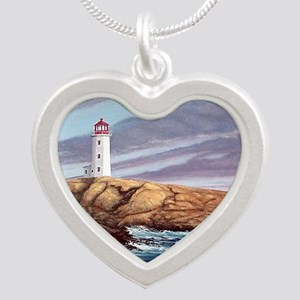 Peggys Cove Lighthouse clock Silver Heart Necklace