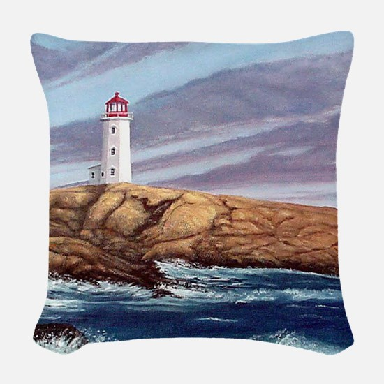 Peggys Cove Lighthouse clock Woven Throw Pillow
