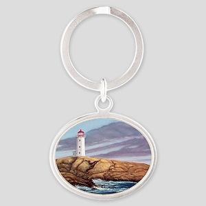 Peggys Cove Lighthouse clock Oval Keychain