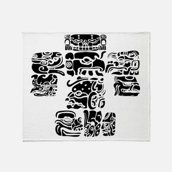 teoti-mayan-front-black-chopped Throw Blanket