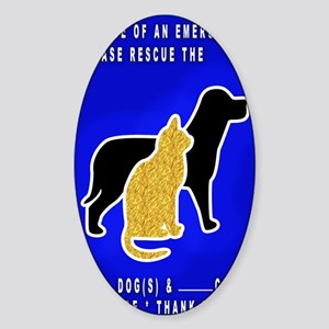 Cat  Dog Emergency Sticker blue Sticker (Oval)