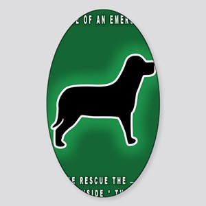 Dog Emergency Sticker Green Sticker (Oval)