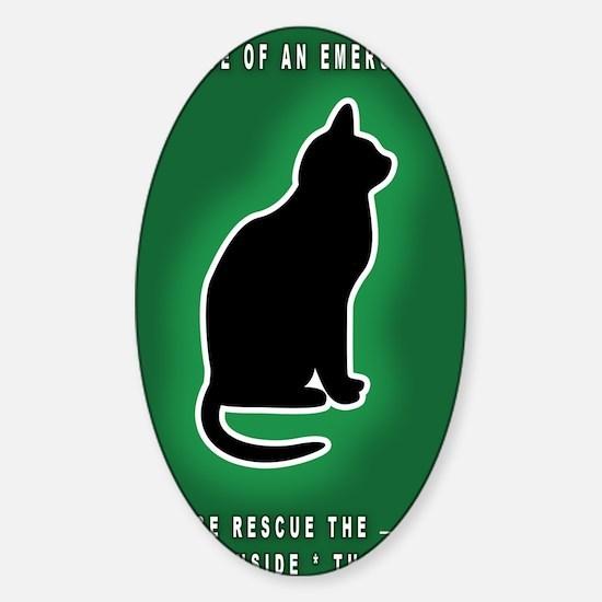 Cat Emergency Sticker Green Sticker (Oval)