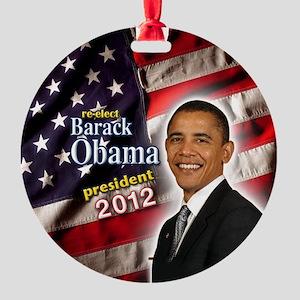 obama button 2012 Round Ornament