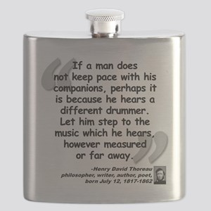 Thoreau Drummer Quote Flask