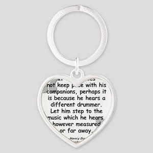 Thoreau Drummer Quote Heart Keychain