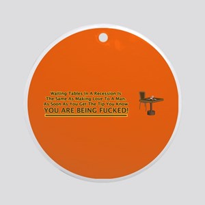 waiting tables button Round Ornament