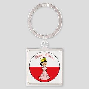 Polish Princess Baby Girl Square Keychain