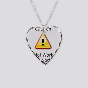 Caution Social Worker Necklace Heart Charm