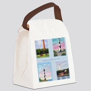 Lighthouses Outer Banks tall Canvas Lunch Bag