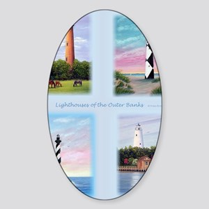 Lighthouses Outer Banks tall Sticker (Oval)