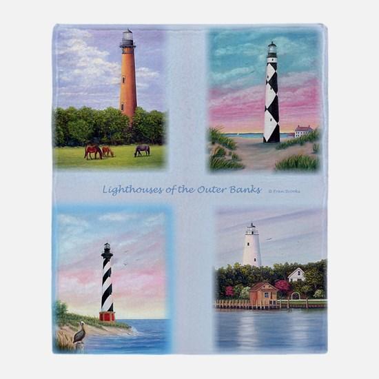 Lighthouses Outer Banks tall Throw Blanket