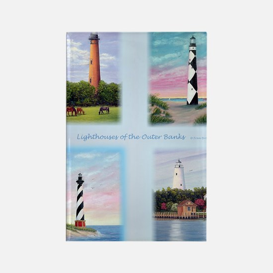 Lighthouses Outer Banks tall Rectangle Magnet