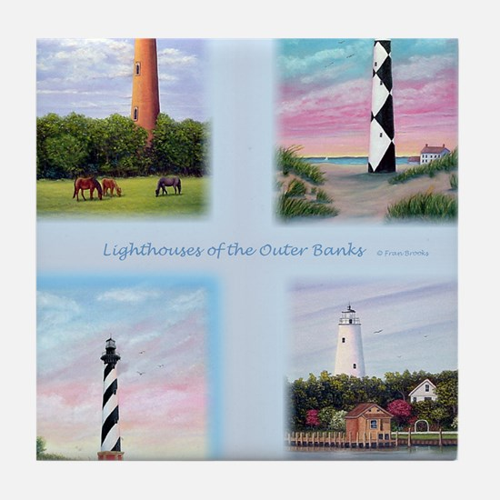Lighthouses Outer Banks tall Tile Coaster