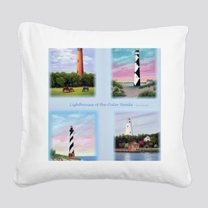 Lighthouses Outer Banks tall Square Canvas Pillow