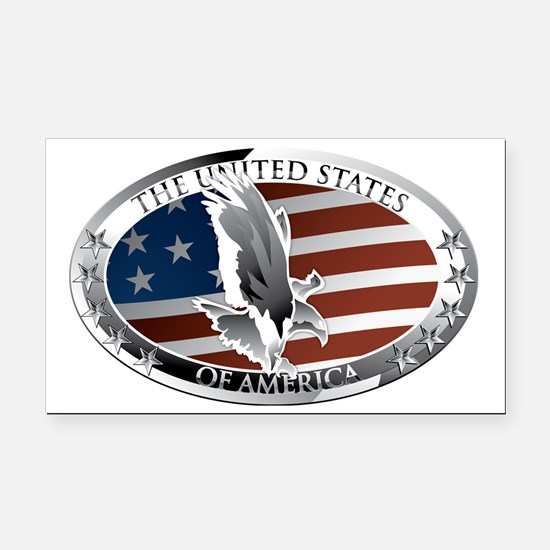 us oval full color Rectangle Car Magnet