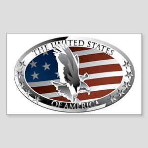 us oval full color Sticker (Rectangle)