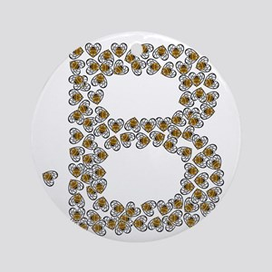 B (made of bees) Round Ornament