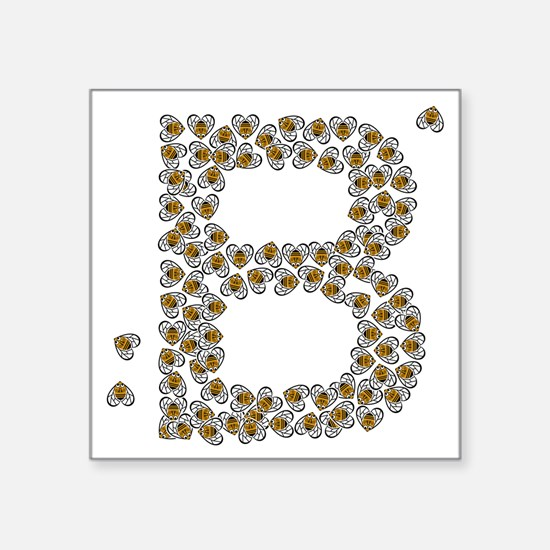 """B (made of bees) Square Sticker 3"""" x 3"""""""