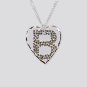 B (made of bees) Necklace Heart Charm