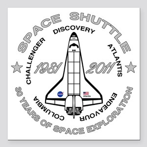 "Space Shuttle_cafepress_ Square Car Magnet 3"" x 3"""