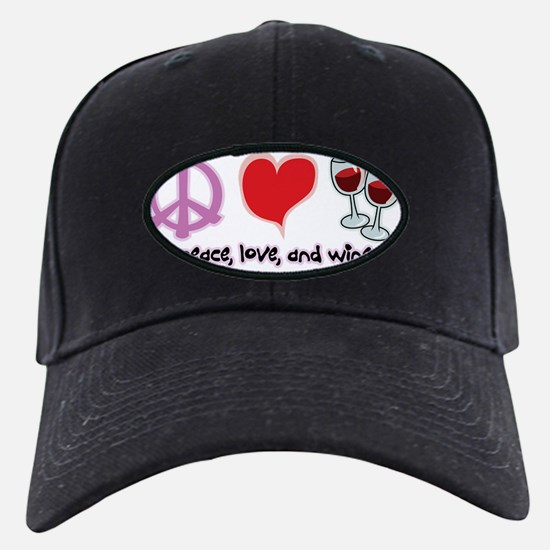 Peace-Love-Wine Baseball Hat