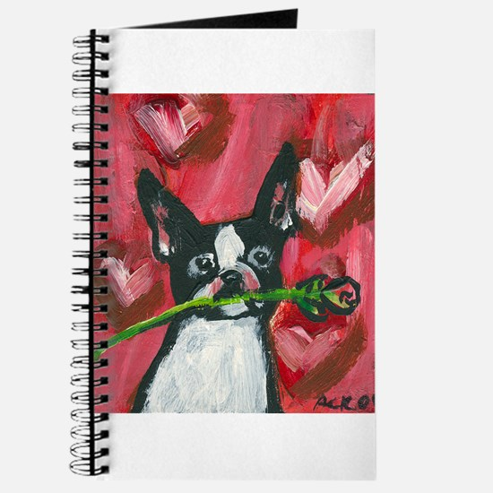 Boston Terrier Valentine rose Journal