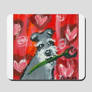 Schnauzer Valentine Rose hear Mousepad